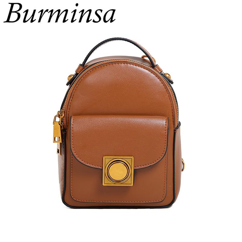 Burminsa 2017 Korean Style Mini Genuine Leather Backpack Cute Girls Travel Bags Designer Brand Causal Shoulder Bags For Women