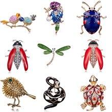Животное птица насекомое черепаха Стрекоза Броши со змеями платье воротник костюм Жук банкет декоративная брошь булавки Свадебные украшения