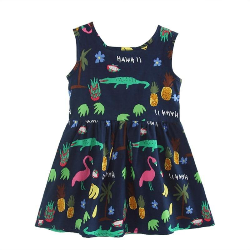 2017 Hot Sale Baby Girl Clothes New Princess Dress Sleeveless Print Dress Cute Girls Dress For Children Clothing