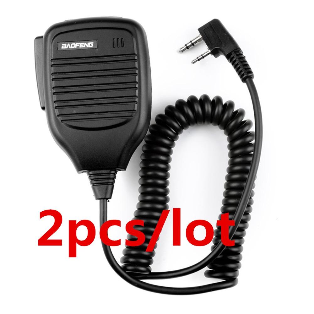 2pcs Baofeng Original PTT Handheld Speaker Two Way Radio Speaker Microphone for walk talkie Baofeng UV 5R 5RA 5RE 5R Plus 888s