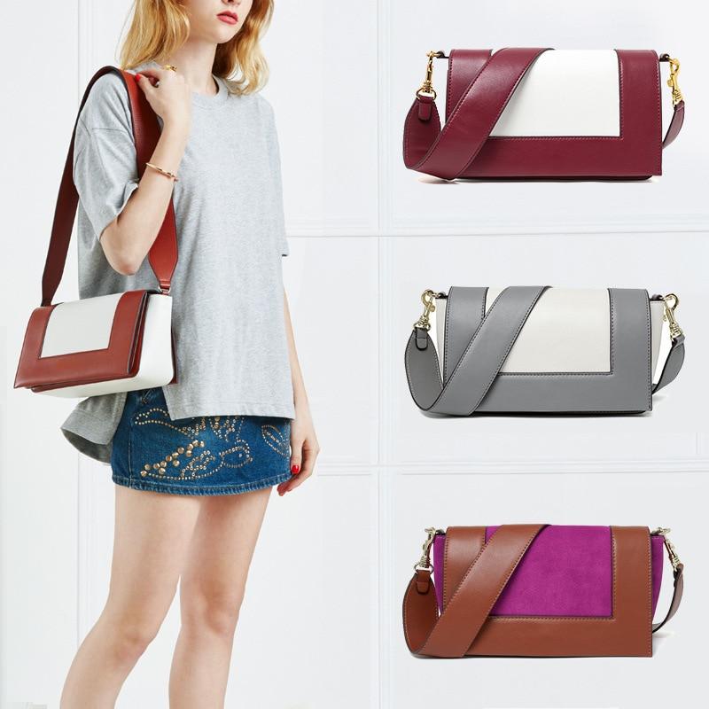 Genuine Leather Shoulder Bag for Women 2018 Leather Inside Fashion Famous Brand Designer Style Crossbody Messenger Bags Handbags цена