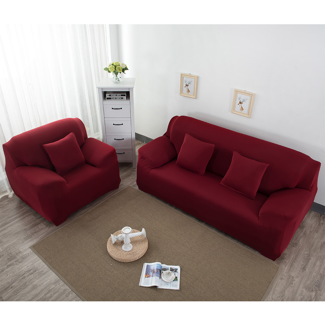 Two Seater Elastic Stretch Universal Sofa Covers Sectional