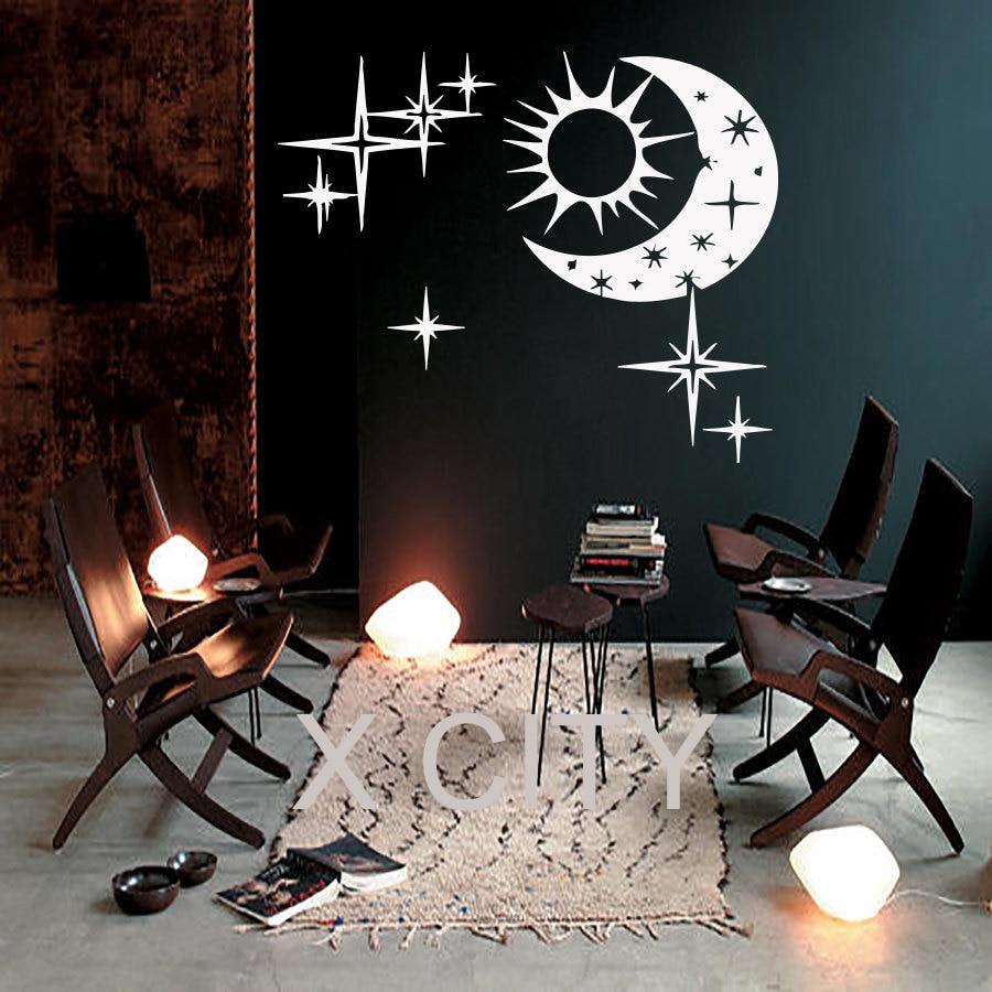 Sun Moon Wall Clock Creative Watch European Modern Design Art Home Decor