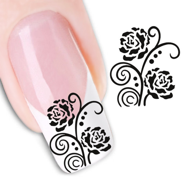 Water transfer nail art stickers decal beauty sexy cute black rose flowers design diy french manicure