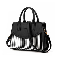 Fashion Ladies Black And White Striped Handbag Splicing Color Shoulder Bag Large Capacity Luxury Handbags Women