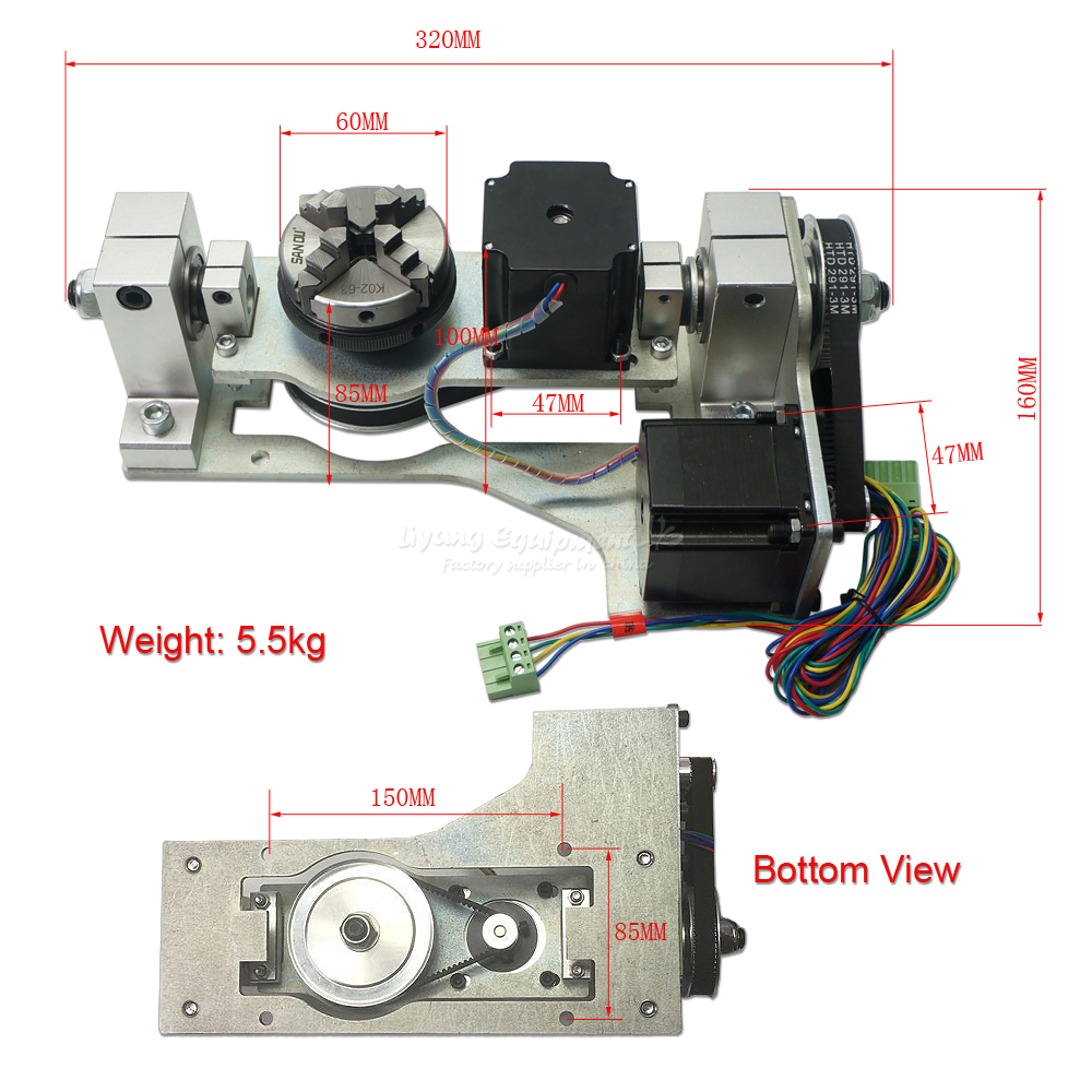 Newest CNC 5th axis rotary axis with chuck table for diy cnc router 3040 3060 6040 engraving machine parts 2017 cnc router 6090 6040 5 axis cnc machine with rotary