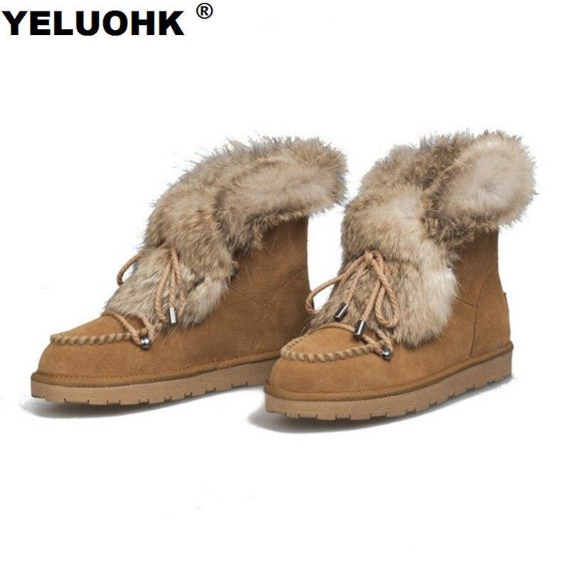 newest f9a22 3e1f7 US $51.84 15% OFF|Marke Wildleder Stiefeletten Weibliche Winter Schuhe  Plüsch Schnee Stiefel Frauen Schuhe Casual Frauen Fell Winter Stiefel ...