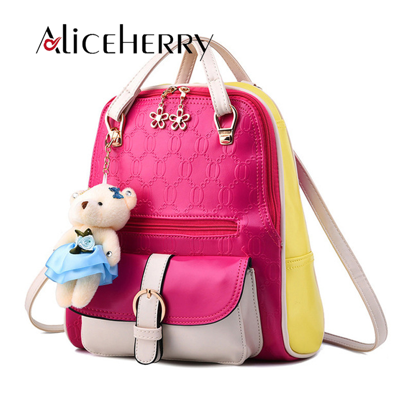 Women backpack 2017 Patchwork Back pack Famous Brand Mochila De Couro Feminino Small Bear Backpacks