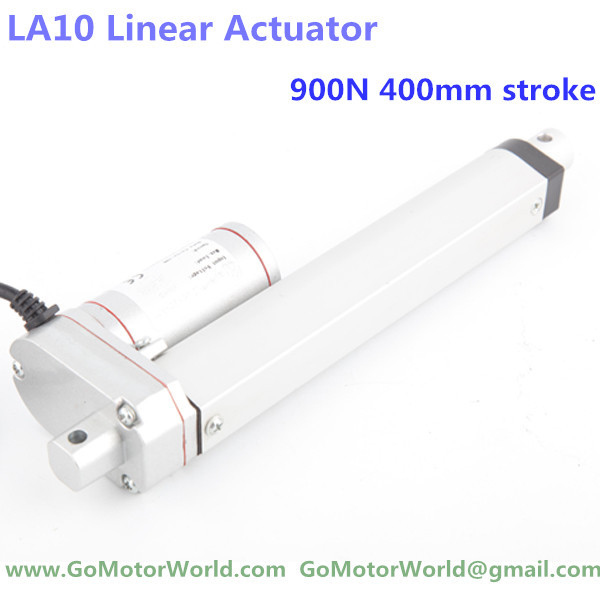 ФОТО 12V 400mm=16 inches stroke 900N=90KG=198LBS load 6mm/sec=0.24inch/sec speed DC micro linear actuator