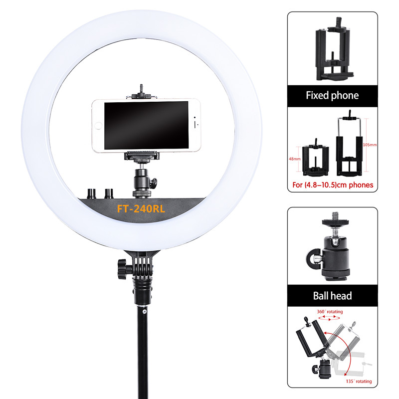 Image 3 - fosoto FT 240RL 14 inch Photographic Light Ring lamp 240 led Ring Light Tripod Stand&Remote For Camera Phone Video Photo studio-in Photographic Lighting from Consumer Electronics