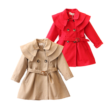 Jacket Trench-Coat Outerwear Girls Children Cotton European Solid for 1-6years Kids