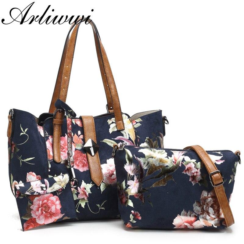 Arliwwi Brand NEW Female Synthetic leather Handbags Bags Women Large Capacity Elegant Flower Embossed Cross body Shoulder Bag