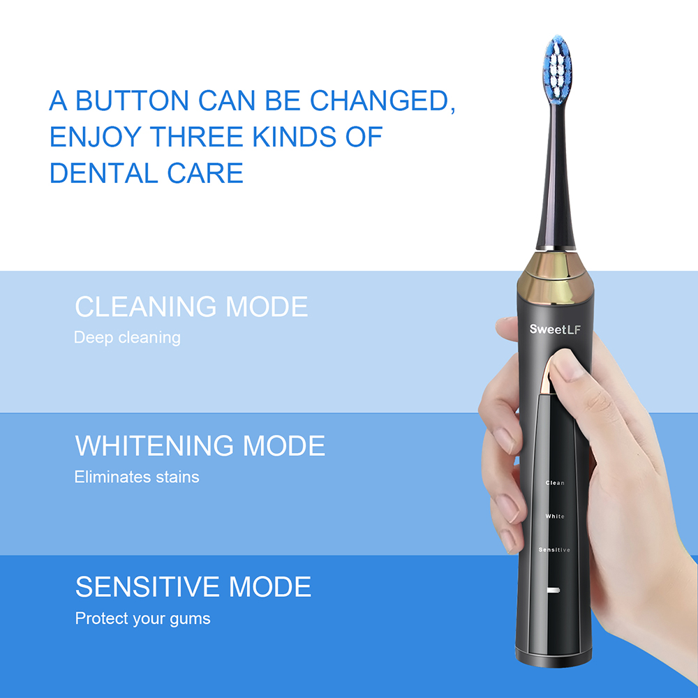 Rechargeable Electric Toothbrush Black Rotating USB Charge Battery Operated Sonic Type Waterproof Teethbrush 4pcs Brush Heads