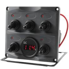5P 12/24V Car Boat RV Yacht On/Off Toggle Switch Panel with Red LED Voltmeter Waterproof LED Indication Light Digital Voltmeter(China)