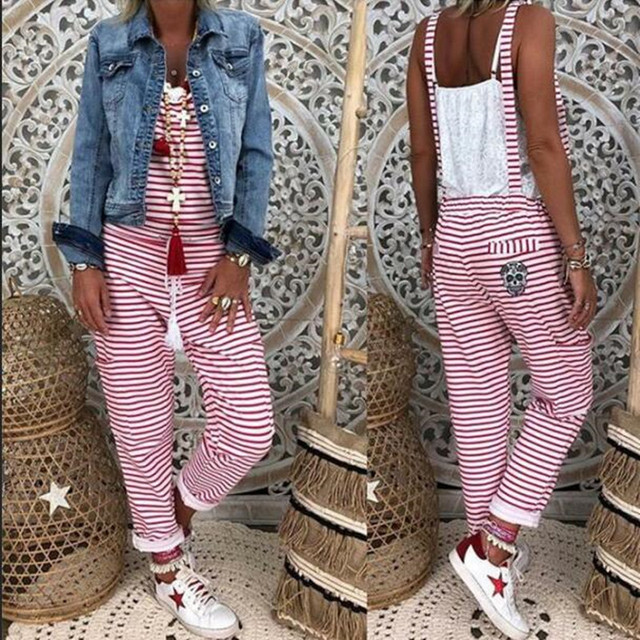 Women Flower Print  Loose Jumpsuits Rompers V-neck Herem Pants Sport Slacks Suspenders Hip Pop Sport Slacks 2