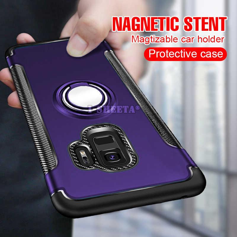 Роскошный защитный мягкий силиконовый чехол-бампер из ТПУ для samsung Galaxy Note 8 9 Note9 противоударный жесткий чехол 360 металлическое кольцо-держатель