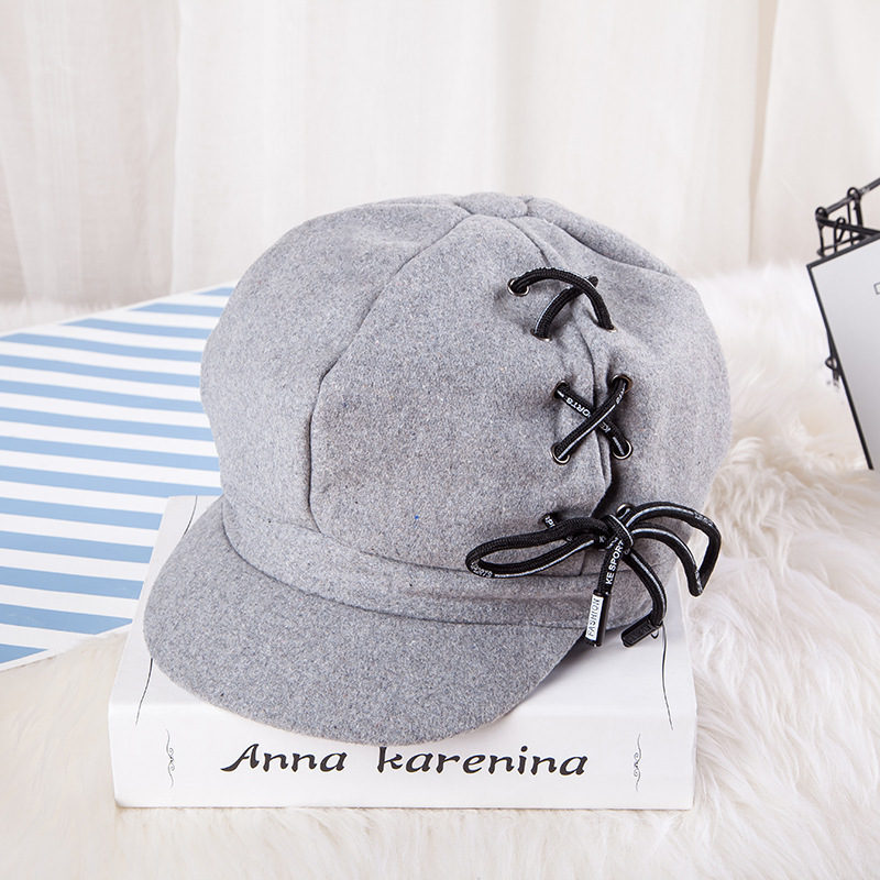 Woman Chamois Octagonal Hats New Korean Personality Shoelace Suede Beret Lovers Fashion Joker Autumn And Winter Painter Hat in Women 39 s Berets from Apparel Accessories