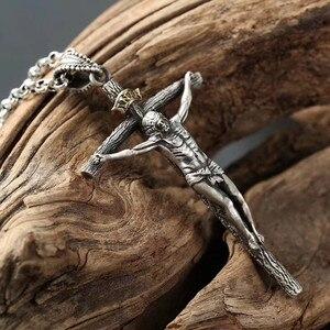 Image 4 - Colar de joias de prata esterlina 925, 65cm, 4mm, corrente de espessura, presente de natal, colar de prata thai, gargantilha de jesus & pingentes