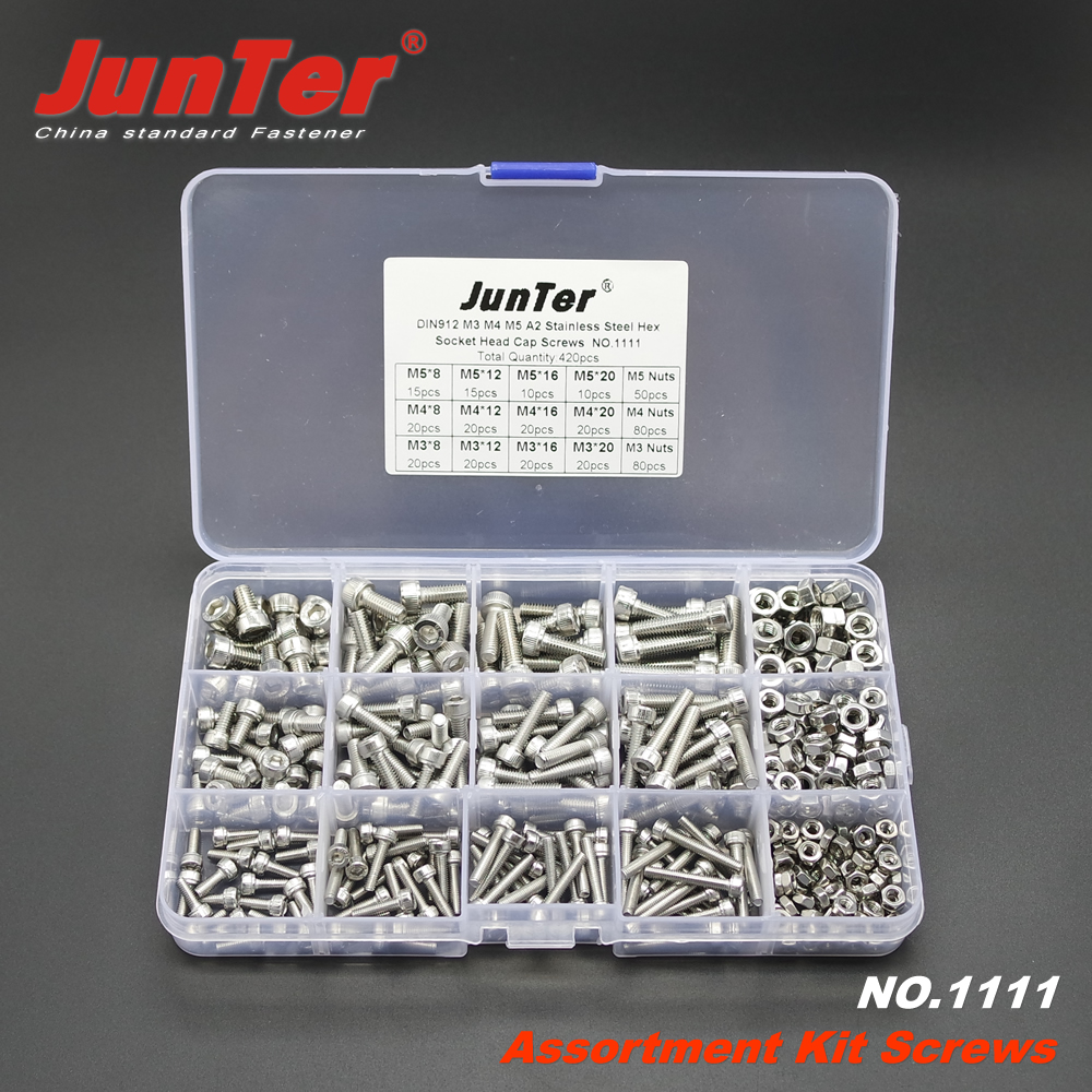 420pcs M3 M4 M5 A2 Stainless Steel DIN912 Allen Bolts Hex Socket Head Cap Screws With Nuts Assortment Kit NO.1111 20pcs m4 m5 m6 din912 304 stainless steel hexagon socket head cap screws hex socket bicycle bolts hw003