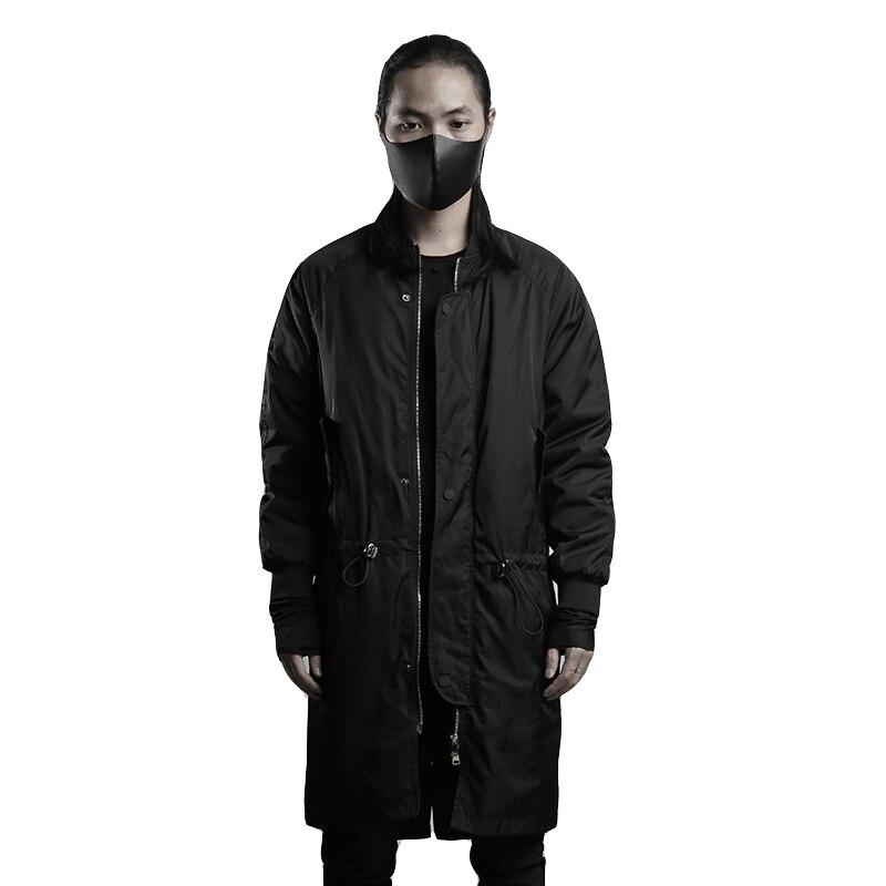 Длинное свободное стеганое большое пальто, Мужская Повседневная зимняя одежда, плотная накидка, черное пальто