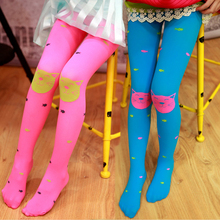 Hot New Kid Baby Girls Tights Stockings Cartoon cat fish Candy Color Velvet Children Pantyhose