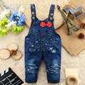 infant girls overall denim   jeans pant baby cartoon denim pant cat design for 12 months -24 months