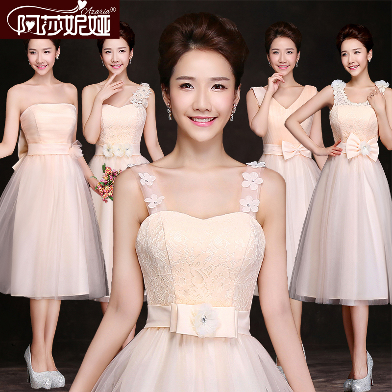 Aliexpress.com   Buy Bridesmaid Dresses 2015 New Champagne Lace Chiffon  Medium long Banquet Formal Dress Bridal Married Plus Size Prom Dresses from  Reliable ... b81eeed698d3