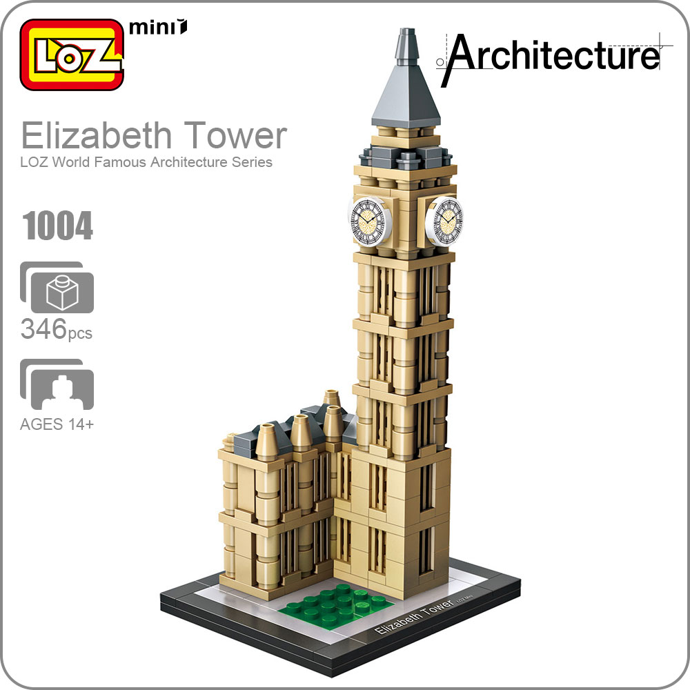 LOZ Mini Blocks Elizabeth Tower London Big Ben Clock Famous Building Architecture Model Bigben Model Plastic Toy Bricks DIY 1004 loz architecture famous architecture building block toys diamond blocks diy building mini micro blocks tower house brick street