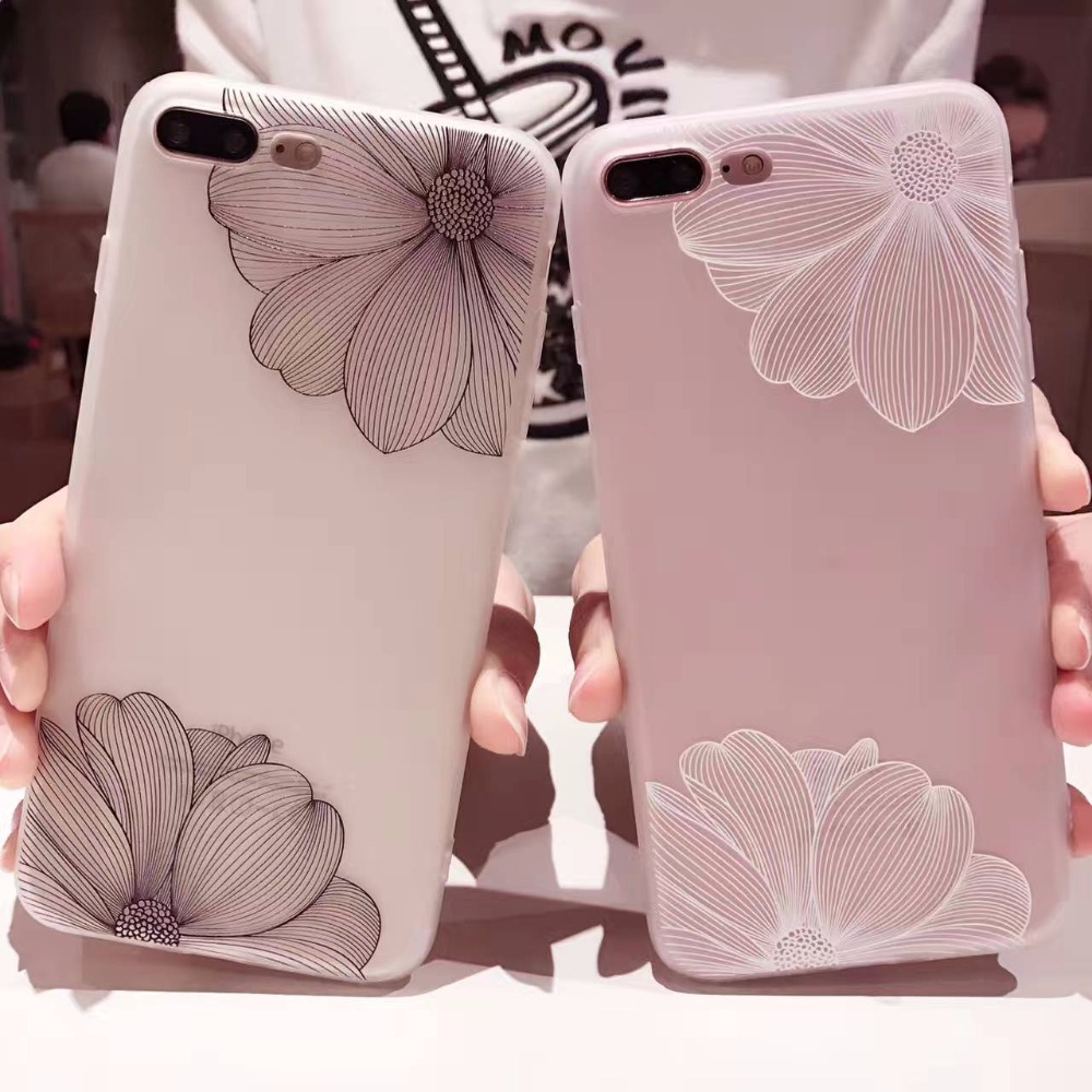 i7 For Coque iPhone 7 Case Lace Floral 3D Embossed Phone Cases for iPhone 7 6s 6 Plus Cover Soft Silicone Fashion Back Cover