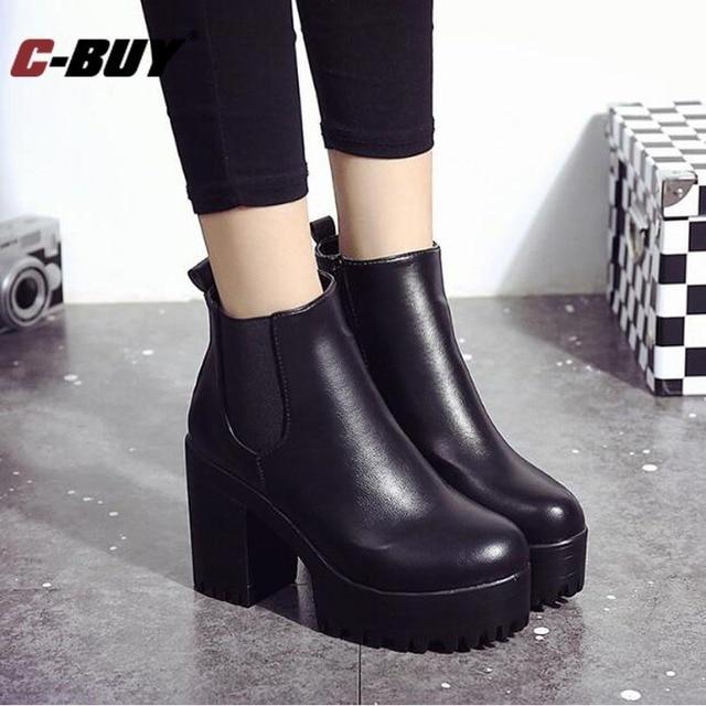 5ea6ed74f52b5 Mujer Botas de Tacón Cuadrado Bomba Plataformas Zapatos de Mujer de LA PU  de Cuero de