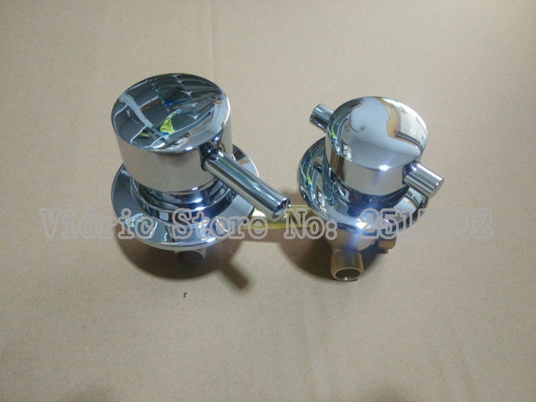 Mélangeur de salle de douche sur mesure robinet d'eau froide et chaude, 2/3/4/5 voies filetage mitigeur de salle de bain chromé - 2