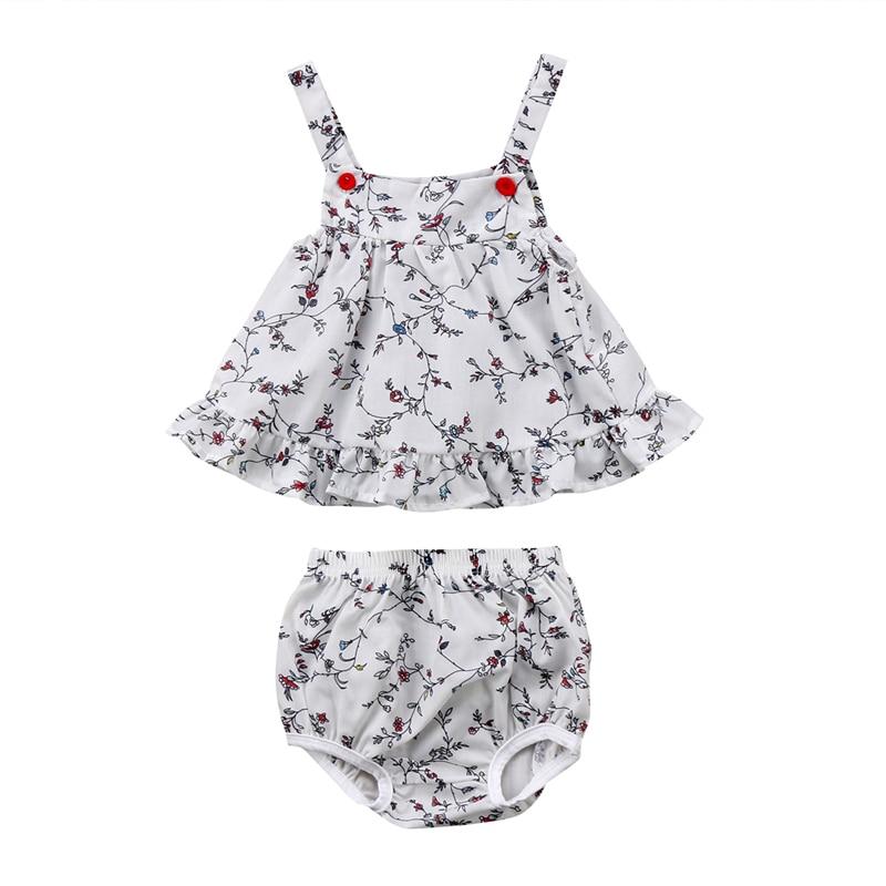 Princess Baby Girls Clothing Set 2018 Fashion Newborn Girl Floral Tops Mini Dress+Shorts 2pcs New Hot Sale Summer Baby Clothing