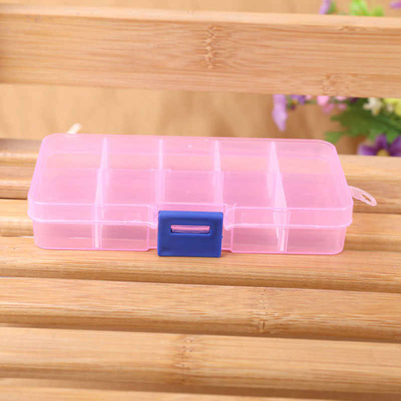 Adjustable Jewelry Beads Pills Nail Art Tips Storage Box 10 Grids Case Newest Desk Plastic Sundries Container Hot Selling