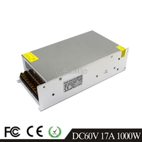 17A 1000W LED Light Belt Driver Switching Power Supply 110/220VAC DC60V Constant Voltage Transformer Monitoring CCTV CNC Motor
