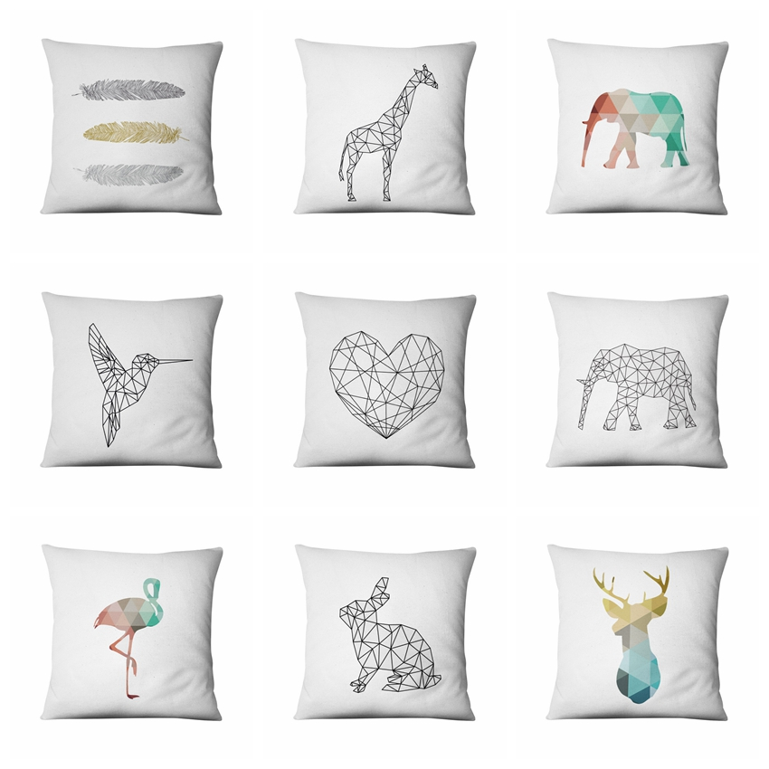 Home Pillow Decoration Simple Geometry Animal Printed Cushion Super Soft Velvet Home Decor Sofa Throw Pillows  Almofadas 45*45cm