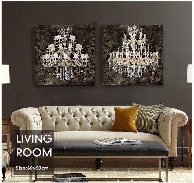 Modern Still Life Painting Canvas Art Crystal Chandelier Pattern Retro Living Room Bedroom Wall Digital