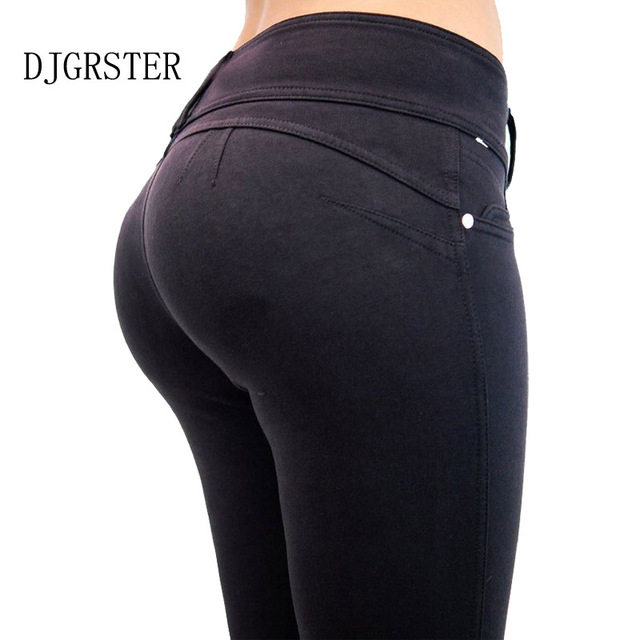 DJGRSTER 2017 Womens Spring Autumn Casual Skinny Jeans Leggings Women Slim High Elastic Denim Pencil Pants Pocket For Women