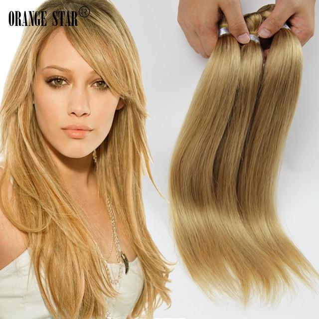 Honey Blonde Brazilian Hair Extensions 3 Bundles Human Weave Straight Cheap Strawberry