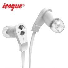 Icoque Wired In Ear Fone de Ouvido Estéreo de Alta Fidelidade Baixo Fones De Ouvido 3.5mm Flat Cable Fones De Ouvido com Microfone para iPhone Xiaomi PC Música fones de ouvido