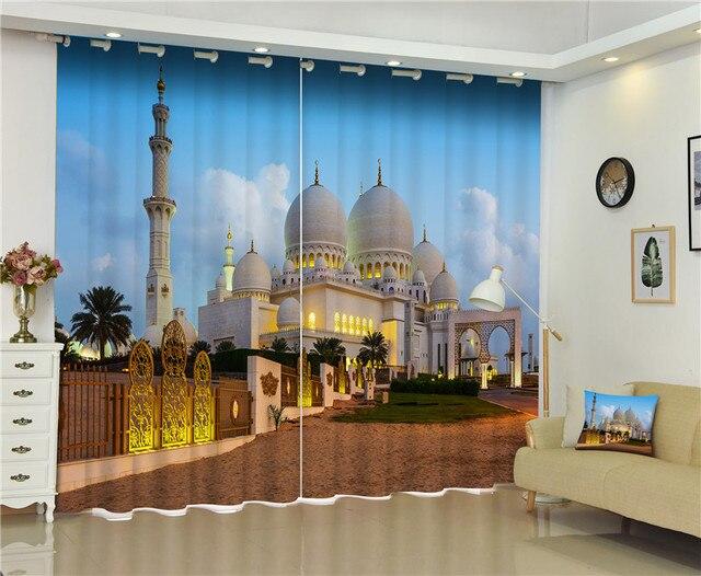 Schöne Gebäude Fotos Blackout Fenster Vorhänge Luxus 3D Vorhänge Für  Wohnzimmer Schlafzimmer Büro Hotel Home Wandteppich