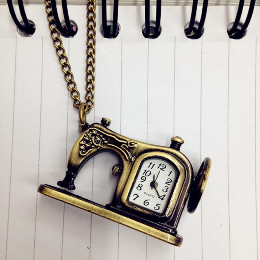 Retro Clock Pocket Quartz Watch Mens Relogio Feminino Fashion Women Antique Sewing Machines Pendant Chain Watches Gift Girls otoky montre pocket watch women vintage retro quartz watch men fashion chain necklace pendant fob watches reloj 20 gift 1pc