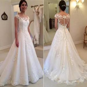 Image 1 - Vestido de Noiva Modest Sheer Bateau Neckline See Through Button Back Wedding Dress 2019 New Cap Sleeves Bridal Gown plus size