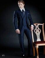Последние Пальто Пант дизайн итальянский Темно синие мужской костюм куртка смокинг жениха Slim Fit 3 предмета Стиль Костюмы Пользовательские П