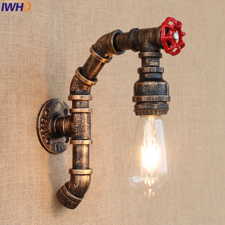 Retro Industrial Vintage Wall Light Loft Water Pipe Iron Wall Lamp With Switch 110V-220V/240V For Dining room Indoor LightingRetro Industrial Vintage Wall Light Loft Water Pipe Iron Wall Lamp With Switch 110V-220V/240V For Dining room Indoor Lighting