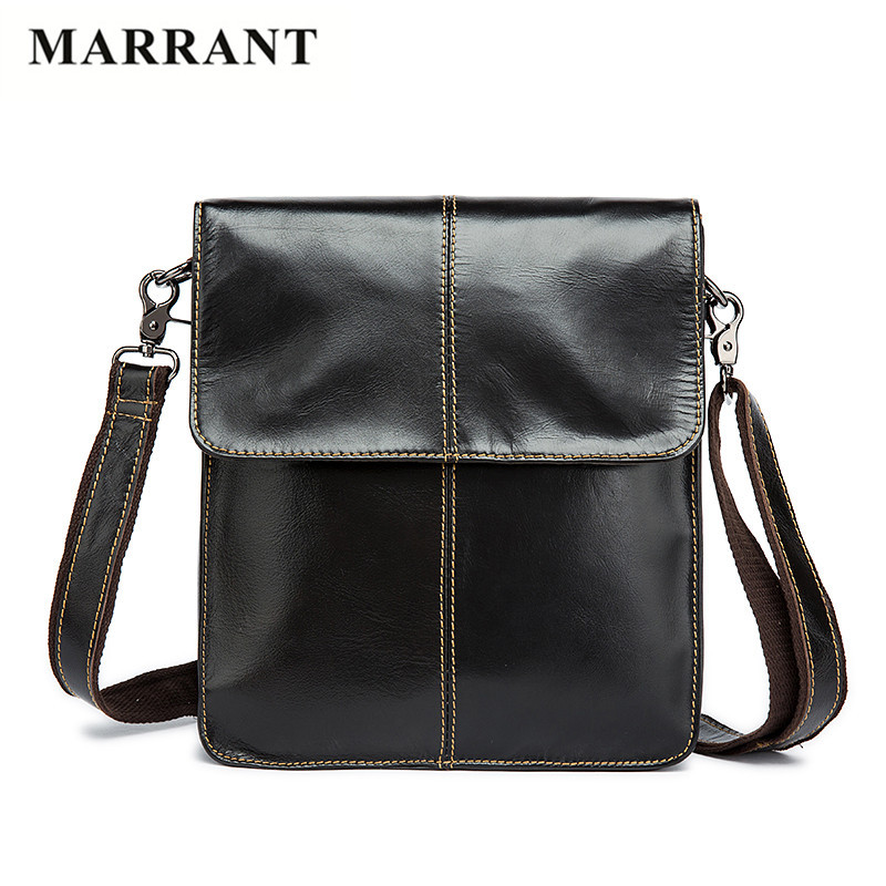 MARRANT Business Men Genuine Leather Messenger Bags Natural Cowhide Men Shoulder Crossbody Bags Casual Small Men's Travel Bags