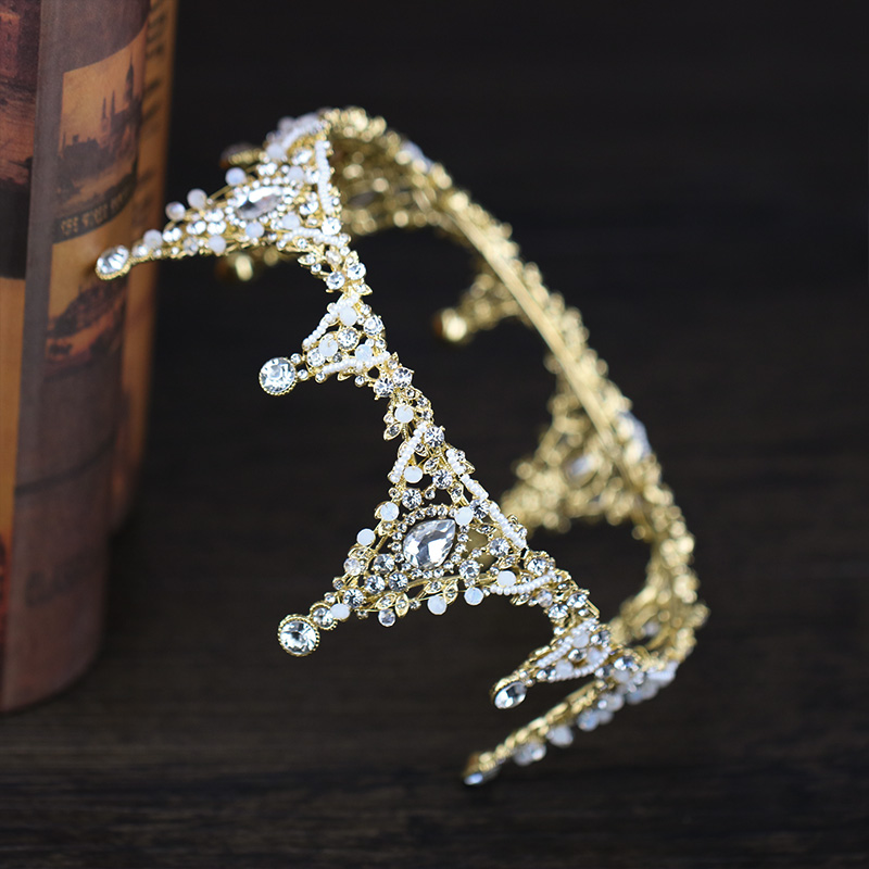 Exquisite Rhinestone Queen Crown Tiaras Princess Crown Headdress Handmade Wedding Bridal Gold Tiara Crown Hair Accessories crown crown xti6002