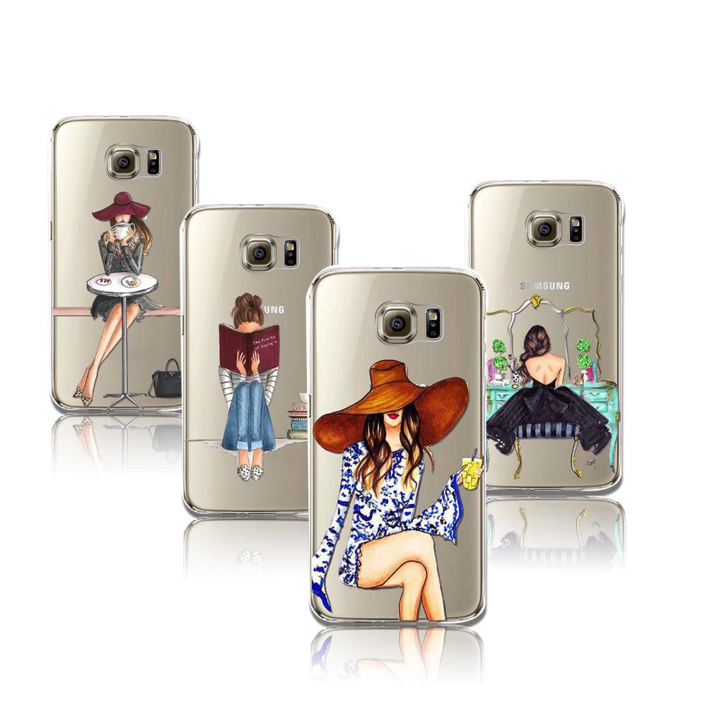 Телефонные Чехлы для Samsung Galaxy S6 модное платье покупки девушка  прозрачный мягкий силиконовый чехол телефона 1a8cd239fce