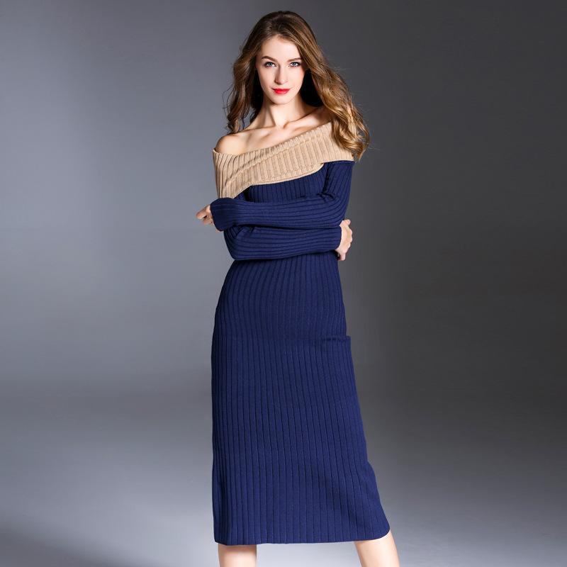 Iadoaixnal high quality slash neck full sleeve bodycon slim hip package sweater women dress sexy casual spring knitted dress 2018 spring new arrival fashion sweater female full sleeve fungus edge pattern pullovers high quality knitted slim casual tops