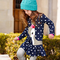 2016 New Brand 1-6Y Baby Girls Long Sleeve Blue Spring Autumn Dress Girls Clothes Fashion Cute Kids Cartoon Deer Dot Dress F8