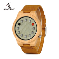 BOBO BIRD WA03 Handmade Nature Bamboo Mens Watch With Leather Band And Wooden Dial Face Japan